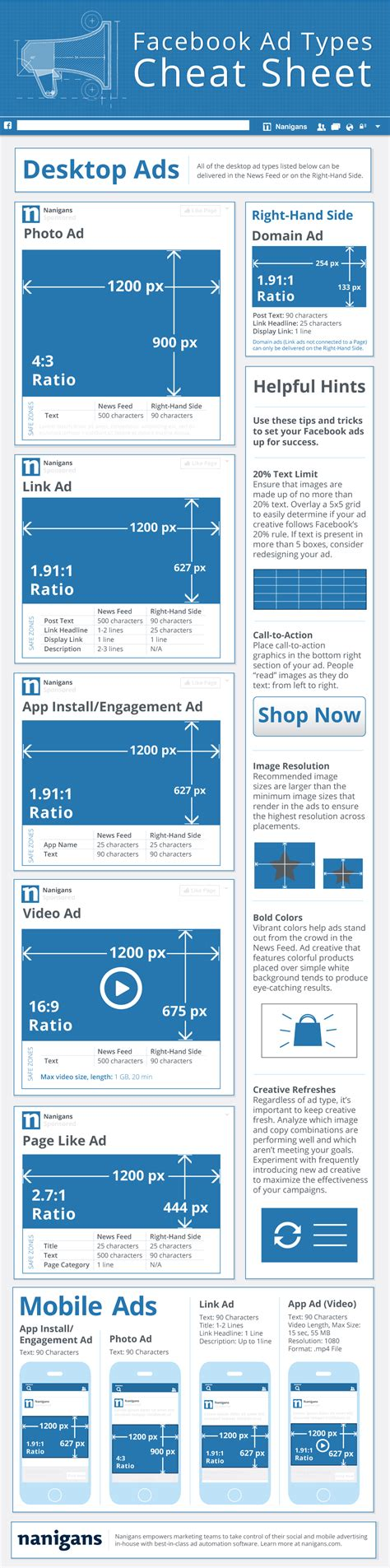 Facebook Ad Types Cheat Sheet [infographic] Nanigans
