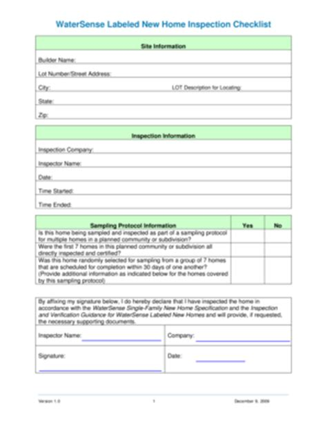 printable home inspection checklist forms
