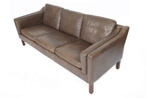 mid century modern brown leather three seat sofa by