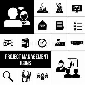 Project Management Icons Black Set Stock Vector