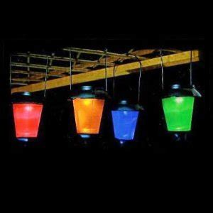 set of 4 solar string coloured garden lantern lights