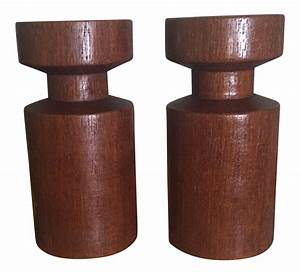 vintage sculptural danish modern teak wood candle holders With kitchen cabinets lowes with scandinavian candle holders