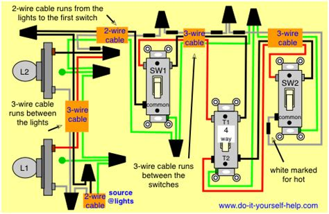 Wiring 2 Schematic In One Box Diagram by Wiring Diagram 4 Way Switch Lights Electrical