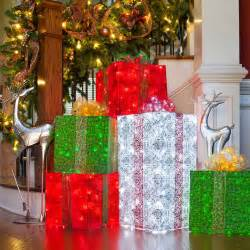 diy decorations 4 lighted gift boxes
