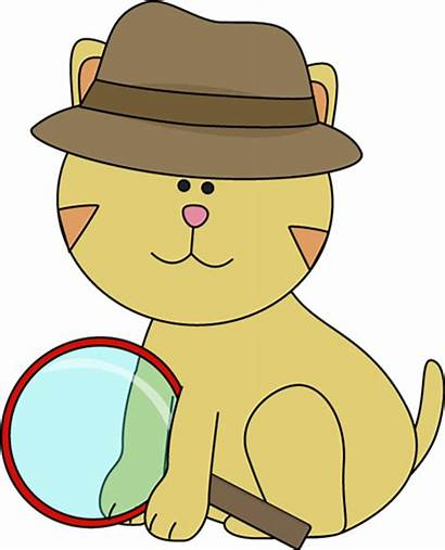 Detective Cat Clipart Clip Hat Glass Magnifying