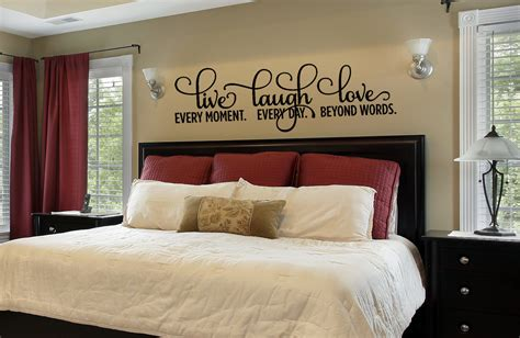 bedroom decor bedroom wall decal  laugh love decal