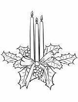 Coloring Candle Pages Christmas Candles sketch template