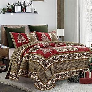 holly tree quilt set in red green bed bath beyond With bed bath and beyond king size quilts