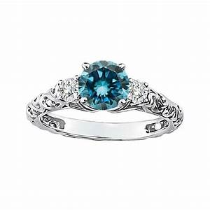 074 carat blue si1 round diamond solitaire engagement for Blue diamond wedding rings for women