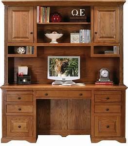 oak ridge double pedestal desk w hutch medium oak With letter desk with hutch