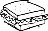Sandwich Clipart Cheese Grilled Coloring Drawing Pages Template Clip Getdrawings Sketch Turkey sketch template