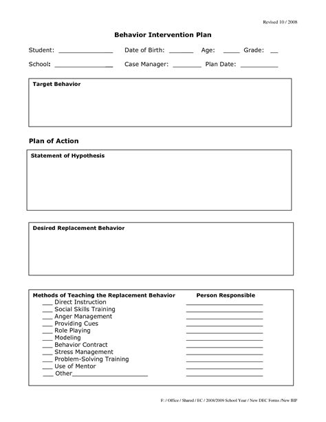 Behavior Modification Plan Template by 26 Images Of Behavior Intervention Plan Template