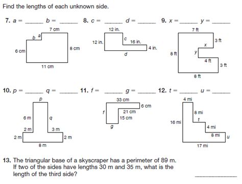 all worksheets 187 perimeter of complex shapes worksheets