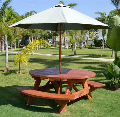 wooden picnic table with umbrella oval picnic table custom oval shaped wood picnic table