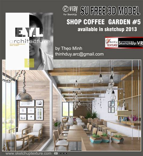 free sketchup model garden coffee bar shop 5 vray