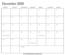 december calendar printable holidays