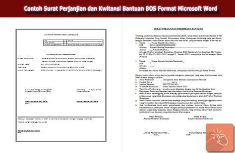 contoh surat perjanjian dan kwitansi bantuan bos format