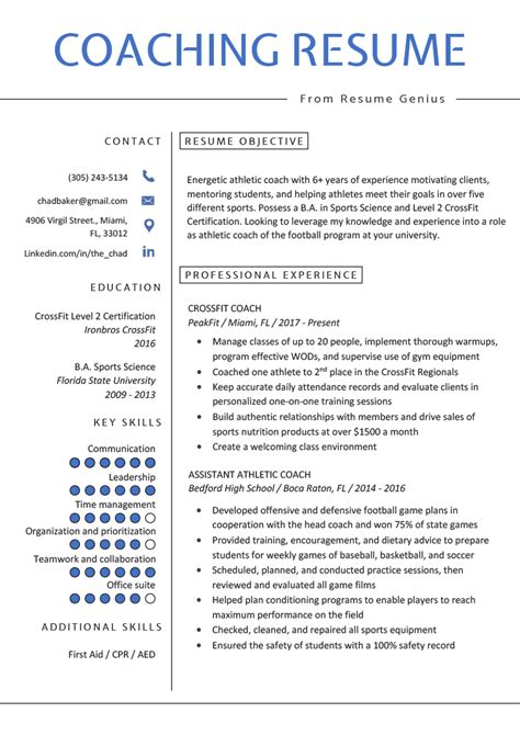 coaching resume sample writing tips resume genius