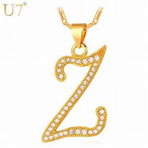 u7 fashion jewelry z letter customized necklace women men With capital letter necklace
