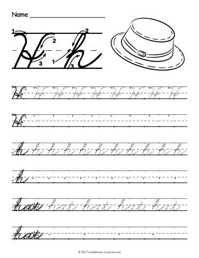 free printable cursive h worksheet cursive writing worksheets cursive writing worksheets