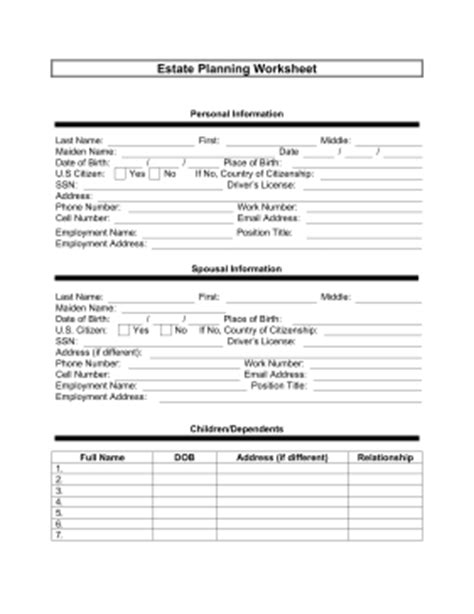 Printable Estate Planner Worksheet Legal Pleading Template