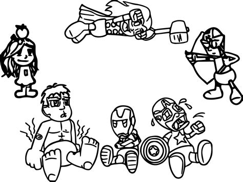 marvel avengers cartoon drawing sketch coloring page