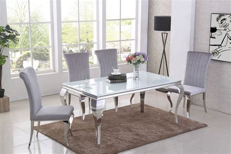 ga liyana white dining table   grey chairs