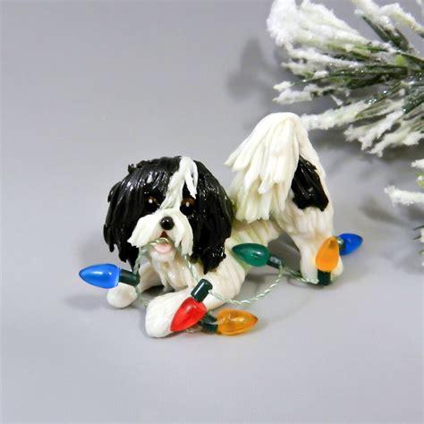 havanese black white christmas ornament figurine lights