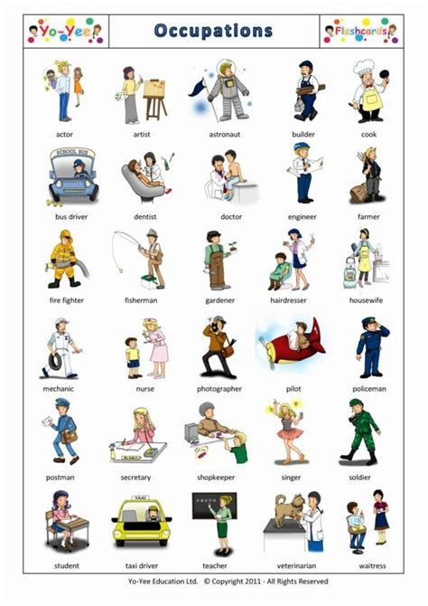 Occupations And Jobs Flashcards For Children