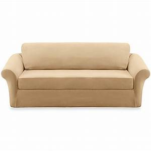 Sure fitr stretch sterling cream 3 piece sofa slipcover for 3 piece sectional sofa slipcovers
