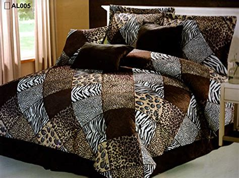 7 pieces multi animal print comforter set king size
