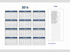 2016 Excel Yearly Calendar 01 Free Printable Templates