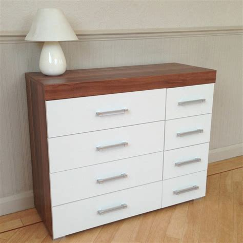 wide chest   drawers  white walnut bedroom furniture  drawer  ebay