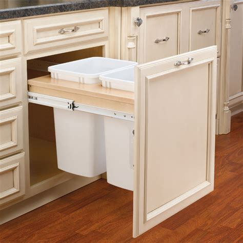 pull out trash cabinet rev a shelf double pull out waste bins for framed cabinet