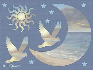 Moon And Stars Painting by Diane Romanello