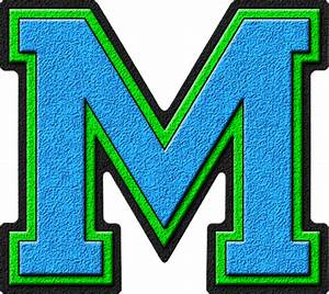 presentation alphabets light blue kelly green varsity With varsity letter m