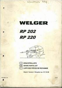 Welger Round Baler Rp202  U0026 Rp220 Parts Manual