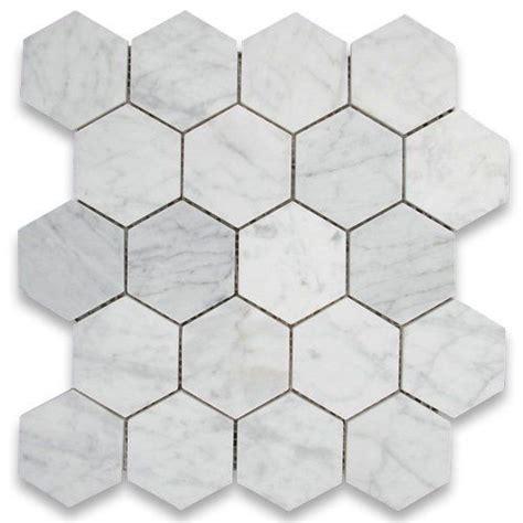 carrara white italian marble hexagon mosaic tile 3