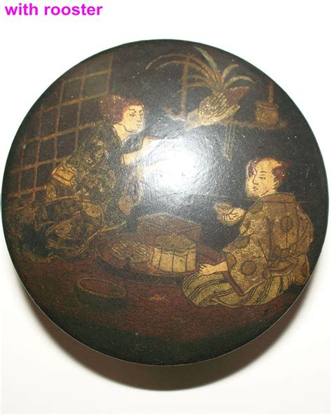 japanese papier mache box husband wife child ca