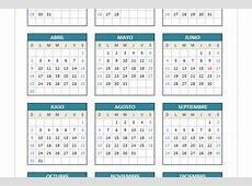 Calendario 2017 domingo a sábado PlanillaExcelcom