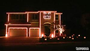 Halloween, Light, Show, A, House, With, Led, Lights, Synchronized, To, Music