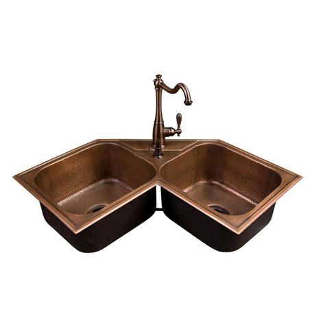 hammered copper double bowl drop  corner sink kitchen