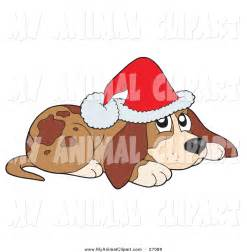 Dog with Christmas Hat Clip Art