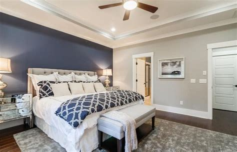 blue accent wall  master bedroom home