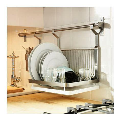 ikea dish drainer rack tray drying cm rail hook grundtal wall organiser set ebay