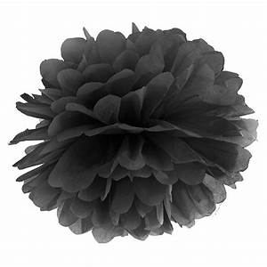 Fleur En Papier De Soie : pompon fleur de papier en soie suspendre noir ~ Nature-et-papiers.com Idées de Décoration