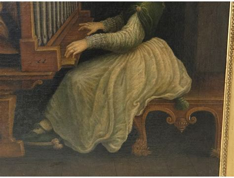 rare hst portrait painting st cecilia  organ cherub