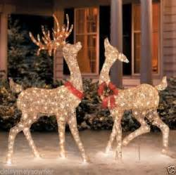 set of 2 outdoor reindeer deer yard decor pre lit lighted 60 quot 256 95 picclick