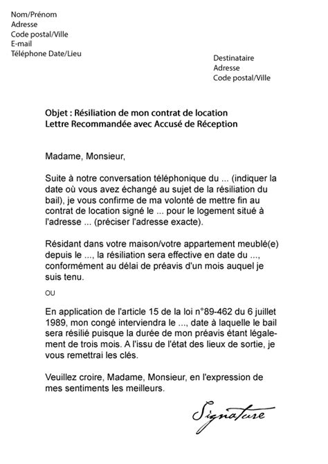 Lettre De Resiliation Bail Meuble Exemple Lettre Resiliation Bail Meuble