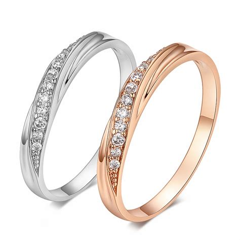 top quality simple cz diamond lovers ring wedding ring 18k